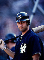 Derek Jeter of the New York Yankees plays in a baseball game at Edison International Field during the 1998 season in Anaheim, California. (Larry Goren/Four Seam Images)