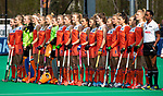 ROTTERDAM -  Line up  team Nederland  tijdens de Pro League hockeywedstrijd dames, Netherlands v USA (7-1)  .  COPYRIGHT  KOEN SUYK