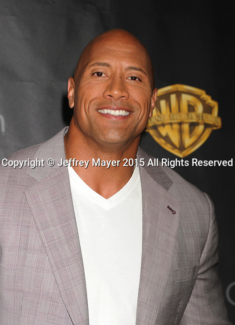 LAS VEGAS, CA - APRIL 21: Actor Dwayne Johnson arrives at Warner Bros. Pictures Invites You to ?The Big Picture at The Colosseum at Caesars Palace during CinemaCon, the official convention of the National Association of Theatre Owners, on April 21, 2015 in Las Vegas, Nevada.