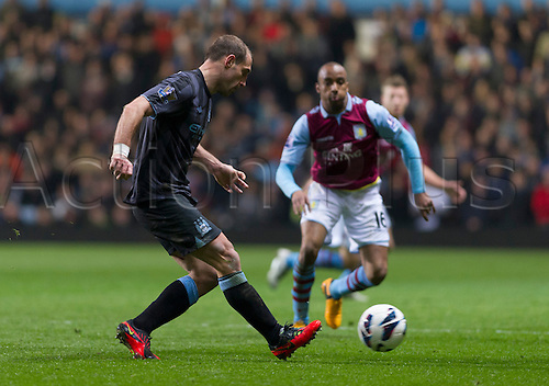 04.03.2013 Birmingham, England.  Manchester City's Pablo Zabaleta (Capt) in action during the Premier League game between Aston Villa and Manchester City from Villa Park.