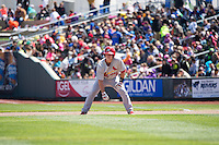 Cody Stanley (21) of the Memphis Redbirds in action against the Omaha Storm Chasers in Pacific Coast League action at Werner Park on April 22, 2015 in Papillion, Nebraska.  (Stephen Smith/Four Seam Images)
