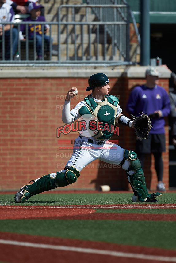 Charlotte 49ers catcher Craig Keuchel (9) on defense against the East Carolina Pirates at Hayes Stadium on March 8, 2020 in Charlotte, North Carolina. The Pirates defeated the 49ers 4-1. (Brian Westerholt/Four Seam Images)