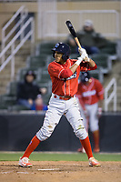 Daniel Brito (21) of the Lakewood BlueClaws at bat against the Kannapolis Intimidators at Kannapolis Intimidators Stadium on April 6, 2017 in Kannapolis, North Carolina.  The BlueClaws defeated the Intimidators 7-5.  (Brian Westerholt/Four Seam Images)