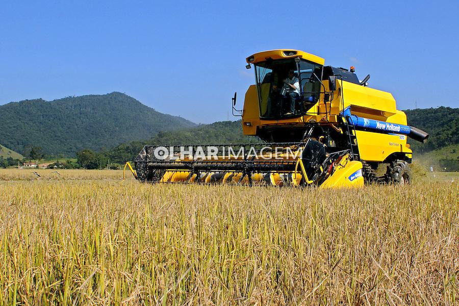 Colheita mecanizada de arroz em Camboriu. Santa Catarina. 2010. Foto de Joao Urban.
