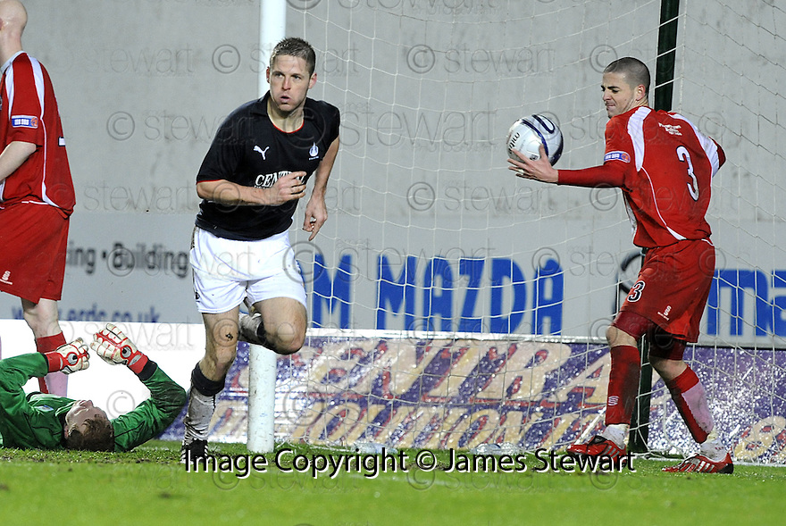 10/01/2009  Copyright Pic: James Stewart.File Name : sct_jspa19_falkirk_v_qots.GRAHAM BARRETT CELEBRATES AFTER HE SCORES FALKIRK'S THIRD.James Stewart Photo Agency 19 Carronlea Drive, Falkirk. FK2 8DN      Vat Reg No. 607 6932 25.Studio      : +44 (0)1324 611191 .Mobile      : +44 (0)7721 416997.E-mail  :  jim@jspa.co.uk.If you require further information then contact Jim Stewart on any of the numbers above.........
