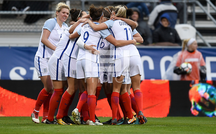 Columbus, Ohio - Thursday March 01, 2018: Fran Kirby and team mates celebrates an England goal during a 2018 SheBelieves Cup match between the women's national teams of the England (ENG) and France (FRA) at MAPFRE Stadium.