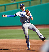 Tyler Wampler (1) of the Indiana State Sycamores throws off balance to first base during a game against the Evansville Purple Aces in the 2012 Missouri Valley Conference Championship Tournament at Hammons Field on May 23, 2012 in Springfield, Missouri. (David Welker/Four Seam Images)