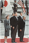 U.S. President Ronald Reagan and First Lady Nancy Reagan and Japanese Emperor Hirohito in Tokyo, Japan on November 9, 1983.<br /> Credit: White House via CNP