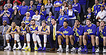 SIOUX FALLS, SD: MARCH 6: The South Dakota State bench reacts in the final seconds of their game against South Dakota during the Summit League Basketball Championship on March 6, 2017 at the Denny Sanford Premier Center in Sioux Falls, SD. (Photo by Dick Carlson/Inertia)