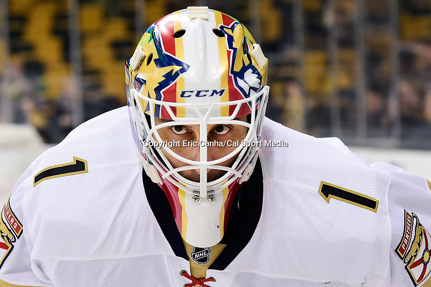 Monday, December 5, 2016: Florida Panthers goalie Roberto Luongo (1) warms up before the start of the National Hockey League game between the Florida Panthers and the Boston Bruins held at TD Garden, in Boston, Mass. Boston defeats Florida 4-3 in overtime. Eric Canha/CSM