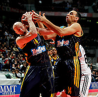 Real Madrid's  and Alba Berlin's Zach Morley and Yassin Idbihi  during Euroleague 2012/2013 match.February 22,2013. (ALTERPHOTOS/Javier Lopez) /NortePhoto