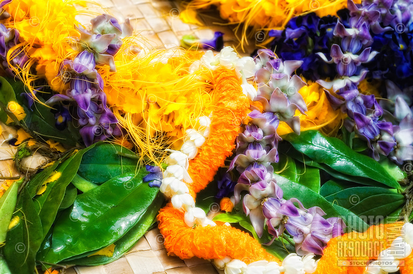 An assortment of Hawaiian lei