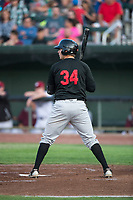 Great Falls Voyagers first baseman Ryan Fitzpatrick (34) at bat during a Pioneer League game against the Idaho Falls Chukars at Melaleuca Field on August 18, 2018 in Idaho Falls, Idaho. The Idaho Falls Chukars defeated the Great Falls Voyagers by a score of 6-5. (Zachary Lucy/Four Seam Images)