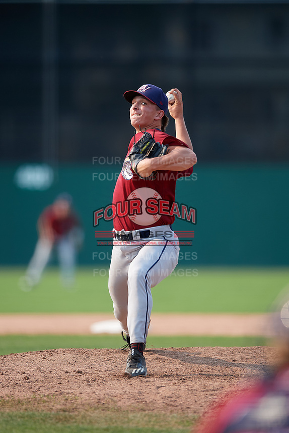 Mahoning Valley Scrappers relief pitcher James Karinchak (23) delivers a pitch during the second game of a doubleheader against the Batavia Muckdogs on September 4, 2017 at Dwyer Stadium in Batavia, New York.  Mahoning Valley defeated Batavia 6-2.  (Mike Janes/Four Seam Images)