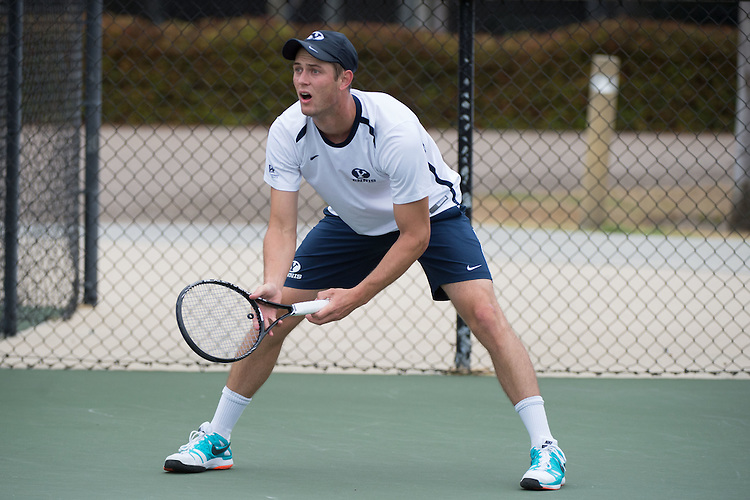 April 22, 2015; San Diego, CA, USA; BYU Cougars tennis player Jacob Sullivan during the WCC Tennis Championships at Barnes Tennis Center.