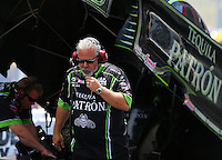 Jun 19, 2016; Bristol, TN, USA; Tommy DeLago , crew chief for NHRA funny car driver Alexis DeJoria during the Thunder Valley Nationals at Bristol Dragway. Mandatory Credit: Mark J. Rebilas-USA TODAY Sports