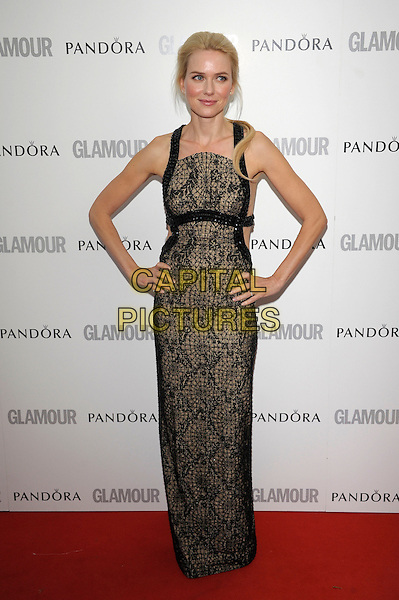 Naomi Watts.Women Of The Year 2012 - Glamour Awards, Berkeley Square, London, England..29th May 2012.full length dress black brown print lace hands on hips.CAP/PL.©Phil Loftus/Capital Pictures.
