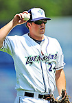 15 July 2010: Vermont Lake Monsters' pitcher Shane McCatty warms up an outfielder between innings of a game against the Aberdeen IronBirds at Centennial Field in Burlington, Vermont. The Lake Monsters rallied in the bottom of the 9th inning to defeat the IronBirds 7-6 notching their league leading 20th win of the 2010 NY Penn League season. Mandatory Credit: Ed Wolfstein Photo