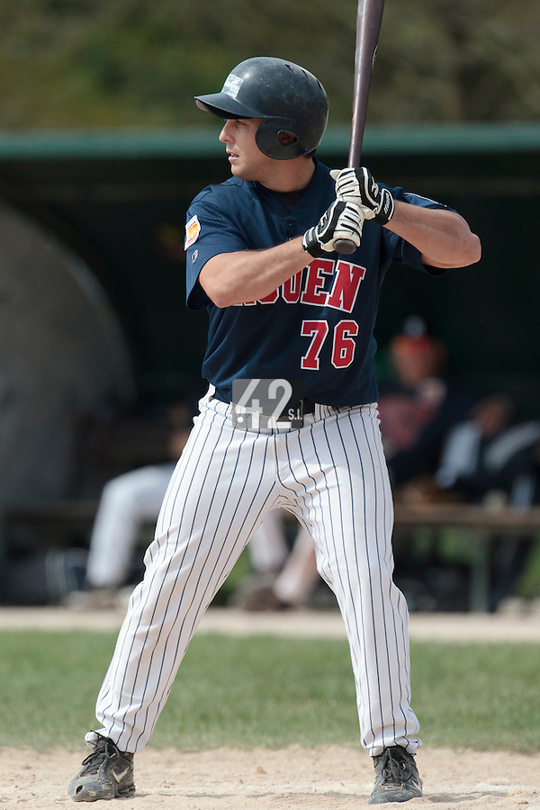 25 April 2010: Mark Terrana of Rouen is seen at bat during game 1/week 3 of the French Elite season won 12-4 by Rouen over the PUC, at the Pershing Stadium in Vincennes, near Paris, France.