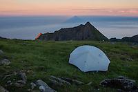 Wild camping on summit of Veinestind, Moskenesøy, Lofoten Islands, Norway