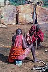 Maasai men make preparations for the initiation of the Moran ( young men) into manhood<br />Kajiado, Kenya.