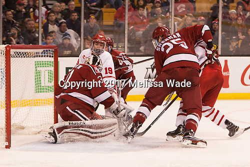 Merrick Madsen (Harvard - 31), Clayton Keller (BU - 19) - The Harvard University Crimson defeated the Boston University Terriers 6-3 (EN) to win the 2017 Beanpot on Monday, February 13, 2017, at TD Garden in Boston, Massachusetts.