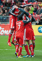 22 October 2011: Toronto FC celebrate the opening goal by Toronto FC forward Nick Soolsma #18 during a game between the New England Revolution and Toronto FC at BMO Field in Toronto..The game ended in a 2-2 draw.