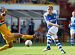 Motherwell v St Johnstone...11.08.12.Liam Craig sees his shot saved.Picture by Graeme Hart..Copyright Perthshire Picture Agency.Tel: 01738 623350  Mobile: 07990 594431