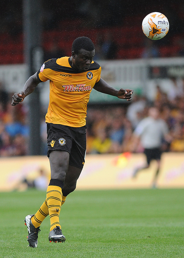 Newport County's Ismail Yakubu in action during todays match  <br /> <br /> Photographer Ashley Crowden/CameraSport<br /> <br /> Football - The Football League Sky Bet League Two - Newport County AFC v Wycombe Wanderers - Saturday 9th August 2014 - Rodney Parade - Newport<br /> <br /> &copy; CameraSport - 43 Linden Ave. Countesthorpe. Leicester. England. LE8 5PG - Tel: +44 (0) 116 277 4147 - admin@camerasport.com - www.camerasport.com