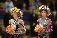 (L-R) Anna Bessonova and Natalya Godunko of Ukraine win 2nd and 1st respectively in the All-Around competition at 2006 Deriugina Cup Grand Prix in Kiev, Ukraine on March 18, 2006. (Photo by Tom Theobald)