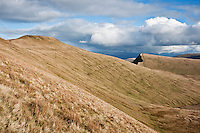 Scenic view of Pen Y Fan and Cribyn in mountains of Brecon Beacons national park, Powys, Wales