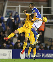 Preston North End's Ryan Ledson jumps with Birmingham City's Lukas Jutkiewicz<br /> <br /> Photographer Mick Walker/CameraSport<br /> <br /> The EFL Sky Bet Championship - Birmingham City v Preston North End - Saturday 1st December 2018 - St Andrew's - Birmingham<br /> <br /> World Copyright © 2018 CameraSport. All rights reserved. 43 Linden Ave. Countesthorpe. Leicester. England. LE8 5PG - Tel: +44 (0) 116 277 4147 - admin@camerasport.com - www.camerasport.com