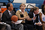 17 November 2015: UNC head coach Sylvia Hatchell (center), with assistants Bill Lee (left) and Andrew Calder (right), reacts to a call against her team. The University of North Carolina Tar Heels hosted the Florida A&M University Rattlers at Carmichael Arena in Chapel Hill, North Carolina in a 2015-16 NCAA Division I Women's Basketball game. UNC won the game 94-58.