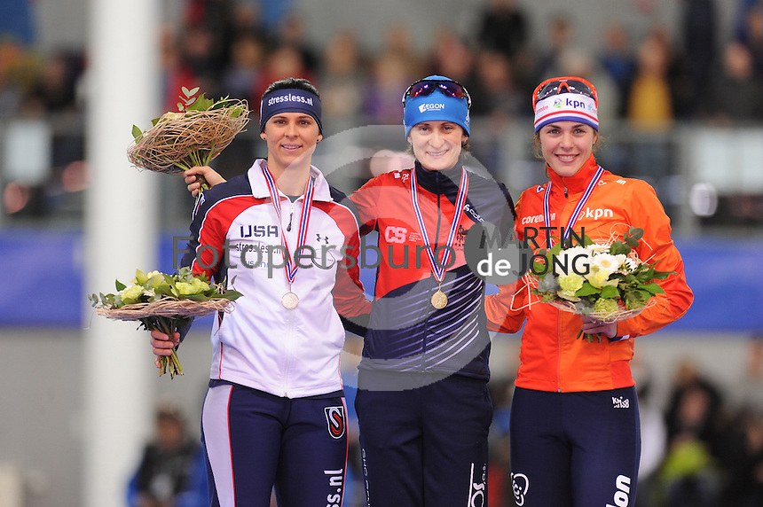 SPEED SKATING: STAVANGER: Sørmarka Arena, 30-01-2016, ISU World Cup, Podium 1500m Ladies Division A, Brittany Bowe (USA), Martina Sábliková (CZE), Marrit Leenstra (NED), ©photo Martin de Jong