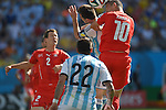 Lionel Messi (ARG), Granit Xhaka (SUI),<br /> JULY 1, 2014 - Football / Soccer : FIFA World Cup Brazil 2014 Round of 16 match between Argentina 1-0 Switzerland at Arena de Sao Paulo in Sao Paulo, Brazil.<br /> (Photo by FAR EAST PRESS/AFLO)