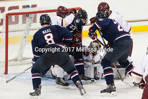 Spencer Naas (UConn - 8), Luke McInnis (BC - 3), Kasperi Ojantakanen (UConn - 23), Joe Woll (BC - 31), Tage Thompson (UConn - 29), Scott Savage (BC - 2) - The Boston College Eagles defeated the visiting UConn Huskies 2-1 on Tuesday, January 24, 2017, at Kelley Rink in Conte Forum in Chestnut Hill, Massachusetts.