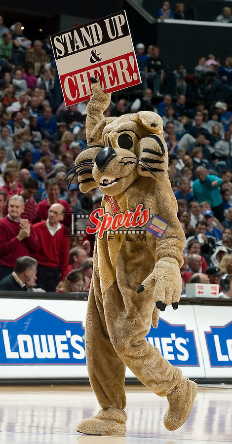 The Davidson Wildcat mascot tries to get the crowd active during s time out versus the Duke Blue Devils at Bobcats Arena December 1, 2007 in Charlotte, NC.  The Blue Devils defeated the Wildcats by the score of 79-73.