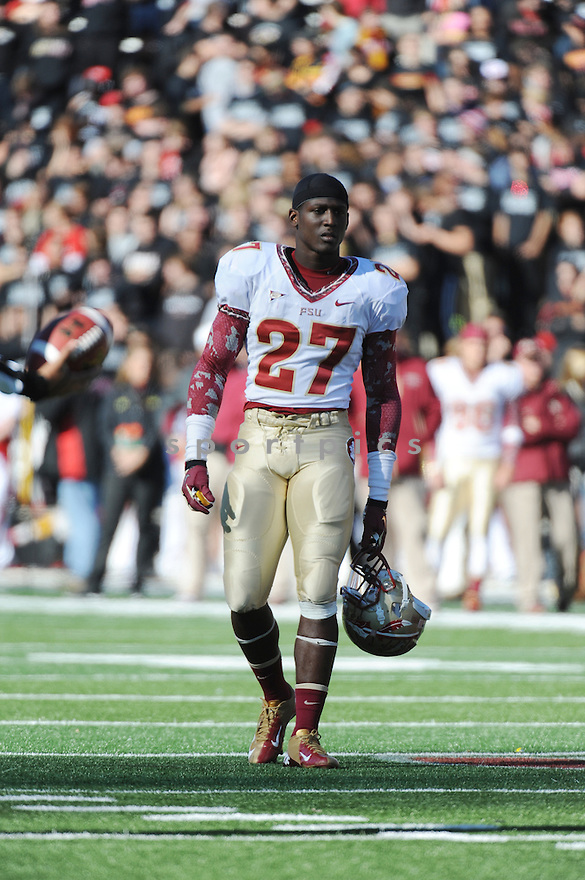 Florida State Seminoles defensiveback Xavier Rhodes (27) during game against University of Maryland Terrapins played at Capital One Field At Byrd Stadium on Saturday, November 17, 2012 in College Park, MD. Florida State defeated Maryland 41-14.