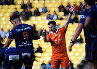 Referee Paul Williams awards a penalty during the Mitre 10 Cup rugby match between Wellington Lions and Otago at Westpac Stadium in Wellington, New Zealand on Sunday, 19 August 2018. Photo: Dave Lintott / lintottphoto.co.nz