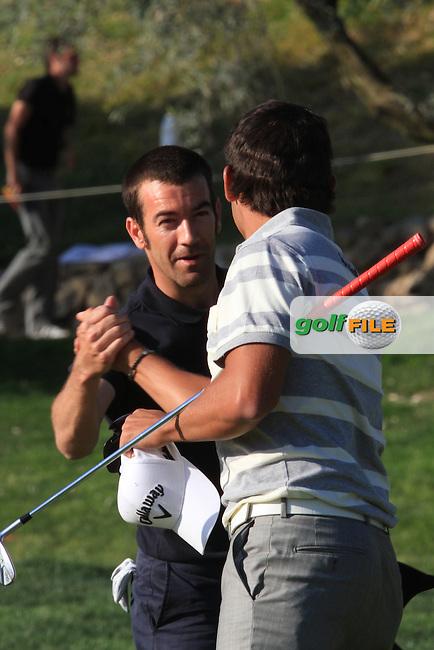 Eduardo De La Riva (ESP) and Pablo Larrazabal (ESP) on the 18th on Day 3 of the 2012 Open de Andalucia Costa del Sol at Aloha Golf Club, Marbella, Spain...(Photo Jenny Matthews/www.golffile.ie)