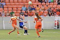 Houston, TX - Sunday June 19, 2016: Cari Roccaro, Heather O'Reilly during a regular season National Women's Soccer League (NWSL) match between the Houston Dash and FC Kansas City at BBVA Compass Stadium.