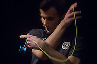Janos Karancz of Hungary winner of the competition competes during the Yoyo European Championships in Budapest, Hungary on February 24, 2013. ATTILA VOLGYI