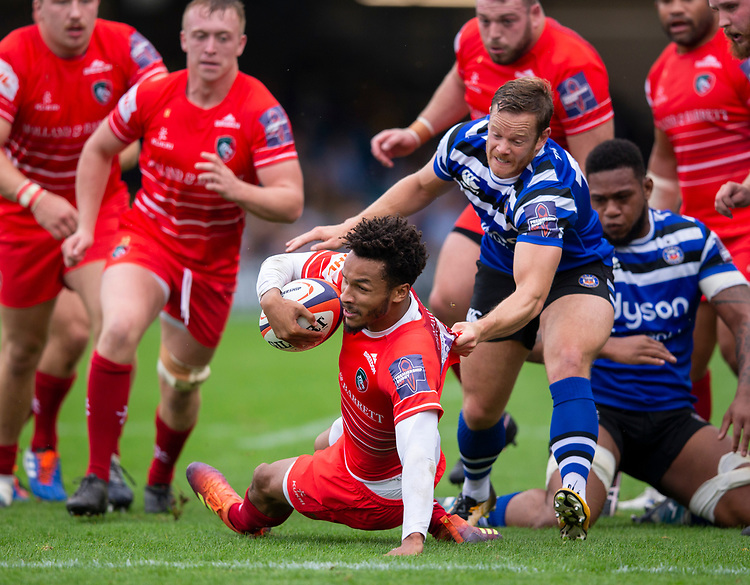 Leicester Tigers' Jordan Olowofela in action during todays match<br /> <br /> Photographer Bob Bradford/CameraSport<br /> <br /> Premiership Rugby Cup Round Three - Bath Rugby v Leicester Tigers - Saturday 5th October 2019 - The Recreation Ground - Bath<br /> <br /> World Copyright © 2018 CameraSport. All rights reserved. 43 Linden Ave. Countesthorpe. Leicester. England. LE8 5PG - Tel: +44 (0) 116 277 4147 - admin@camerasport.com - www.camerasport.com