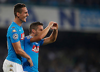 Calcio, Champions League Gruppo B: Napoli vs Benfica. Napoli, stadio San Paolo, 28 settembre 2016. <br /> Napoli's Dries Mertens, right, celebrates with his teammate Arkadiusz Milik after scoring his second goal during the Champions League Group B soccer match between Napoli and Benfica at the Naples' San Paolo stadium, 28 September 2016. Napoli won 4-2.<br /> UPDATE IMAGES PRESS/Isabella Bonotto