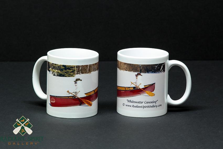 "Coffee mug with ""Whitewater Canoeing"" wraparound image, approx. 12 oz. capacity"