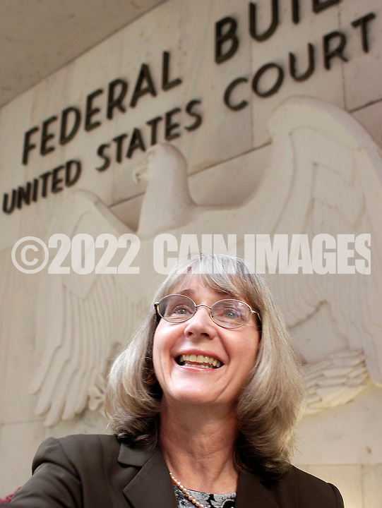 HARRISBURG, PA - NOVEMBER 4: Eugenie Scott, Ph. D., Executive Director of the National Center for Science Education speaks to a reporter outside the Harrisburg Federal Courthouse November 4, 2005 in Harrisburg, Pennsylvania. (Photo by William Thomas Cain/)