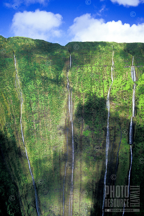 Waterfalls on the Kohala Coast seen on helicopter tour. Big Island