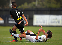 Albert Riera fouls Mario Barcia (11) during the Oceania Football Championship final (second leg) football match between Team Wellington and Auckland City FC at David Farrington Park in Wellington, New Zealand on Sunday, 7 May 2017. Photo: Dave Lintott / lintottphoto.co.nz