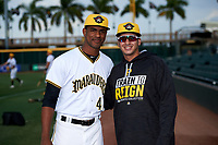 Bradenton Marauders Yunior Montero (45) poses for a photo with a teammate before a game against the Clearwater Threshers on April 18, 2017 at LECOM Park in Bradenton, Florida.  Clearwater defeated Bradenton 4-2.  (Mike Janes/Four Seam Images)