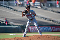 Salt River Rafters relief pitcher Ben Braymer (43), of the Washington Nationals organization, looks in for the sign during an Arizona Fall League game against the Surprise Saguaros on October 9, 2018 at Surprise Stadium in Surprise, Arizona. The Rafters defeated the Saguaros 10-8. (Zachary Lucy/Four Seam Images)